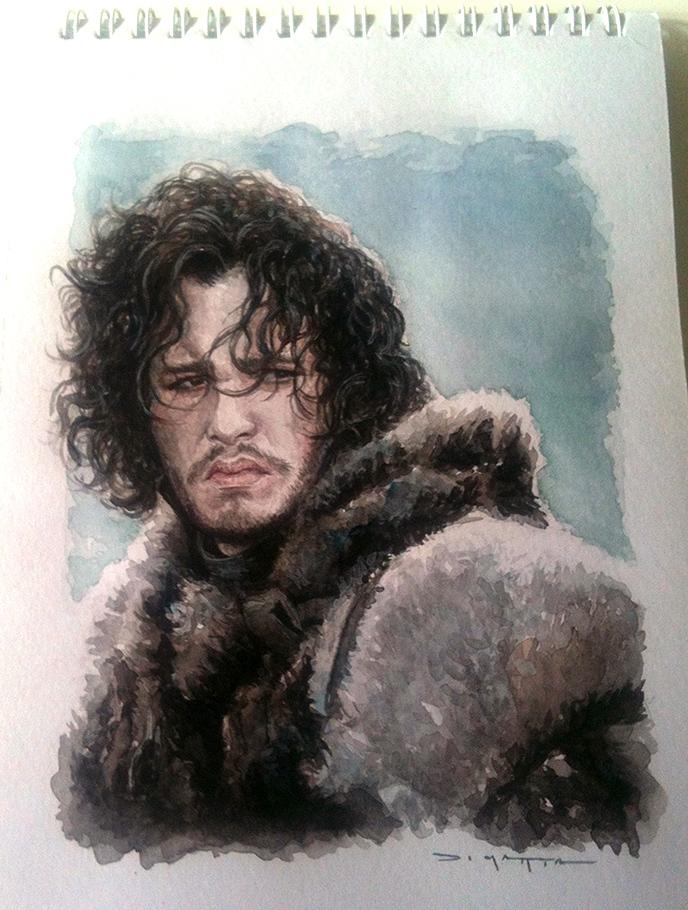 jon snow - A5 - watercolor