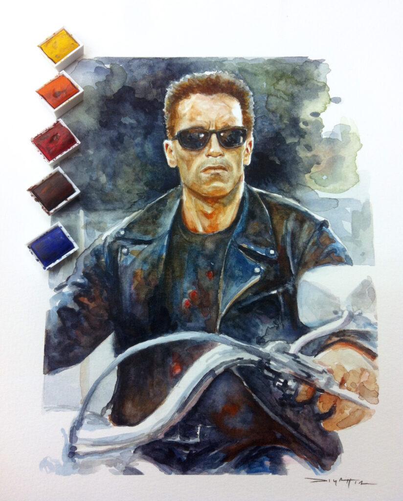 Terminator2 - A4 - watercolor - usd330 (framed)