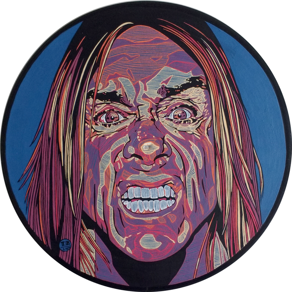 Iggy Pop - 30cm diámetro / látex y tinta sobre disco de vinilo - usd 200