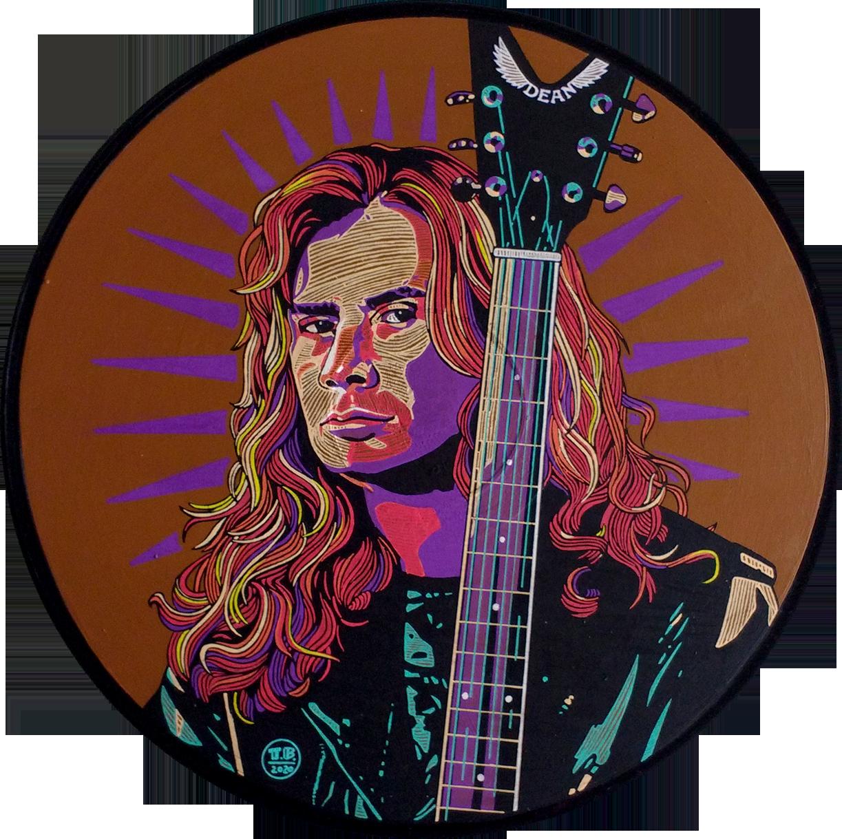 Dave Mustaine  - 30cm diámetro / acrílico y tinta sobre disco de vinilo - usd 200