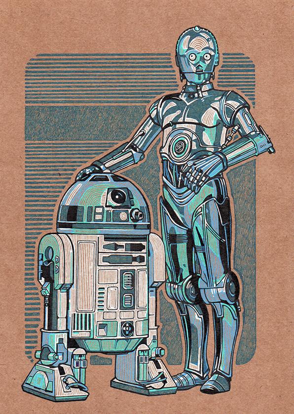 C3-PO R2-D2 - 21x30cm tinta sobre papel kraft 220g - usd 120